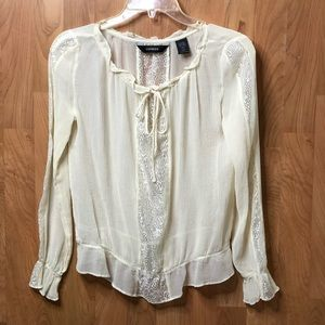 Express Long Sleeve bone color sheer top w/Lace